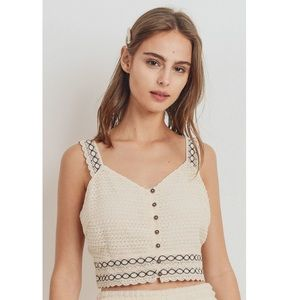 💞NEW💞Knit Laced Buttoned Shoulder Strap Top